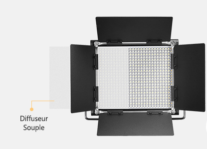 Une lampe Neewer 660 LED avec volets et diffuseur blanc.